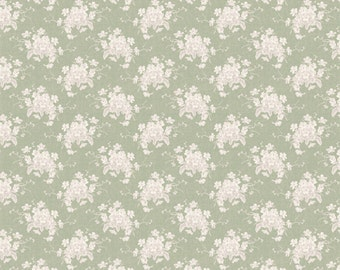 Tilda Fabric, Tilda White Flower Grey Green Fat Quarter, The Seaside Life Collection, Tilda Cotton Fabric 480557, Fat Quarter, 50 cm x 55 cm