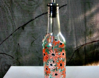 Dish Soap Dispenser,  Recycled Clear Beer Bottle, Painted Glass, Shades of Orange and Peach Flowers