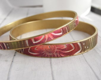 Brass Bangle Bracelet Set featuring Polymer Clay Red, Olive and White Tropical Flower Design