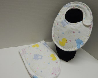 Newborn Baby  Bib and Burp Cloth Set
