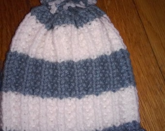 Hand Knitted infant White and Blue Hat with pompom, fits newborn to 3 month