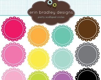 60% OFF SALE Scalloped Frames Clipart Clip Art Personal & Commercial Use Digital Scrapbooking