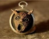 Wood scream or singing tree Greenman dark sculpture in vintage pocket watch case locket  with art print - wall art - Artwork painting sculpt