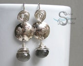 Dragonfly & Gray Moonstone Earrings - sterling silver, stamped, spirals, handmade start to finish, unique, medium earrings