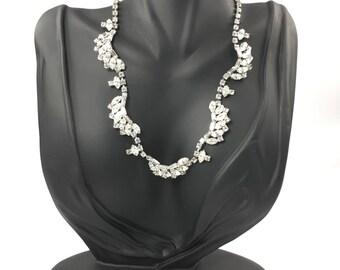Kramer Rhinestone Necklace, Scalloped, Marquise, Baguette Rhinestones, Signed Jewelry, Wedding Bridal Jewelry