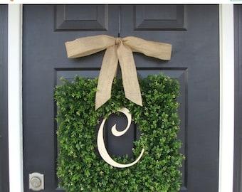 FALL WREATH SALE Monogram Boxwood Wreath, Boxwood Monogram Wreath with Burlap Bow, Housewarming Gift, Wedding Wreath 16-22 Inch Wreath avail