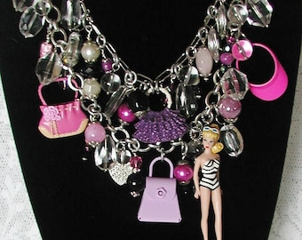 Barbie, Beads & Bags Statement Charm Necklace