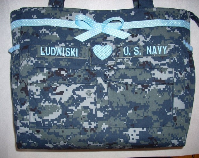 U S Navy anchor diaper bag free tags free embroidery custom colors choice of trims you design handmade to order