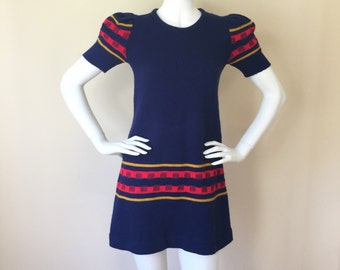 Vintage 60's / early 70's Navy Red and Yellow Short Sleeved Mini Sweater Dress