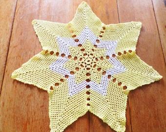 Yellow Hand Crocheted Doily, Yellow Star Doily, Large Yellow Crocheted Doily, Yellow Centerpiece
