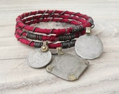Silk Road Bangle Stack, 3 Piece Set, Silk Wrapped, Bohemian, Stacking Bracelets, Tribal Gypsy Jewelry, Rose Red