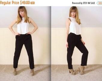30% off ... Vintage 90s Black High Waist Faux Micro Suede Trousers Cigarette Pants - MEDIUM M 4 6