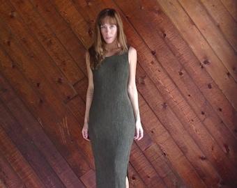 30% off ... Dark Green Gingham Printed Sleeveless Bodycon Maxi Dress - Vintage 90s - XS S