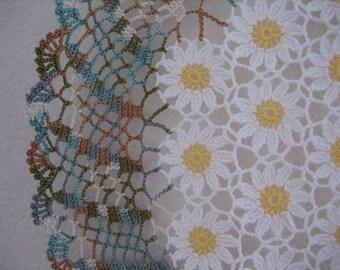 Daisy field, hand crochet, super good looking art doily, new, ready to mail