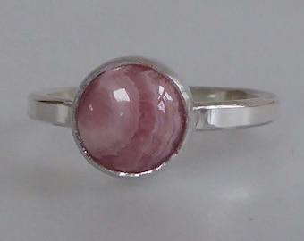 Pink Rhodochrosite silver ring size P1/2