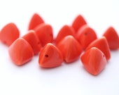 Vintage Opaque Orange Lucite Triangle Beads 15mm (10)