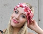 Soft Headband Yoga Headband Tiedye Shibori Pink Red Turban Twist Turban Headband Headwrap Tichel Hairscarf Ear Muff Hairwrap Head Covering