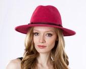 Wide Brimmed Fedora Hat- Women- Spring Fashion- Spring Accessories- Fall Fashion- Winter Accessories- Pink Hat- Magenta Hat- Women's Fedora