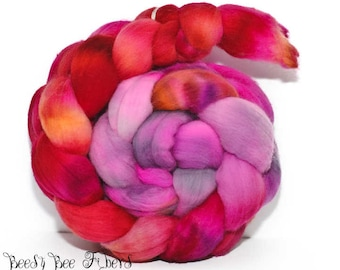 FATALITY - Hand Dyed Domestic Targhee Hand Painted Combed Top Wool Roving Spinning Felting fiber - 4.1 oz