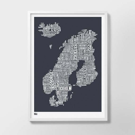 Nordic Europe Type Map Screen Print, Nordic Europe Font Map, Nordic Europe Wall Art, Nordic Europe Wall Poster, Nordic Europe Word Map