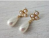Sale 20% OFF Erica Post Earrings, wedding bridal pearl posts, woodland flower studs