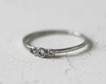 14k Gold Three Cone Diamond Ring, Diamond Engagement Ring, Three Stone Bezel Ring, 3 Diamond Ring, Dainty Engagement Ring, Delicate, Thin