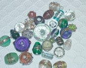 Lot of Various Size and Shape Lamp Work Beads, 28 Beads