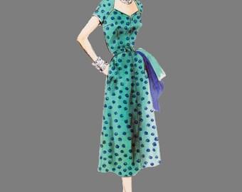 1953 One piece dress pattern Vogue 7931 4 gore Skirt with Raglan Sleeve Low Tulip Neckline Size 16, Bust 34, three quarter or Short sleeves