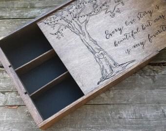 Anniversary wine box, three bottle wine box, wooden wine box, wooden wine crate, wedding wine box, tree wine box, fifth anniversary gift