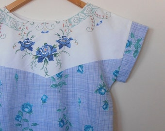 blue roses in cross stitch...vintage fabric loose fit ladies blouse