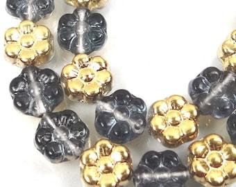 25 Czech Glass Daisy Flower Beads - Gold/Montana Blue 8mm (C472)