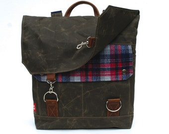 Waxed Canvas Backpack / Campfire Plaid Vintage Wool & Oiled Leather