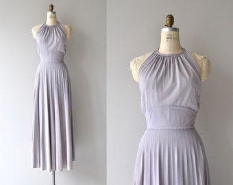 Lilac Dust halter maxi dress   vintage 1970s halter dress   70 maxi dress