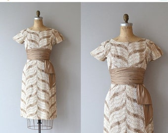 25% OFF.... Pinwheel Rows dress   vintage 1950s dress   embroidered 50s cocktail dress