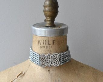 Queen's Consort choker | vintage rhinestone choker | faux pearl choker necklace