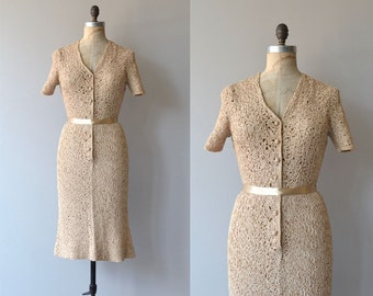Delosa ribbon dress | vintage 1950s dress | cream 50s ribbon dress