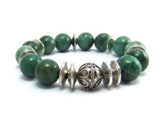 Soft Green Prase Gemstone Bead Stretch Bracelet Handmade, Elastic, Bali Silver focal bead, elastic bracelet, stackable,big beads