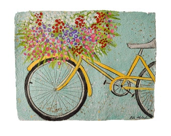 Yellow Bike- large PRINT-matted in white to fit 16x20 Frame