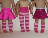 Pink Striped Tights, 18 Inch Doll, Knee Socks, Leg Warmers, Accessories, American Made, Girl Doll Clothes