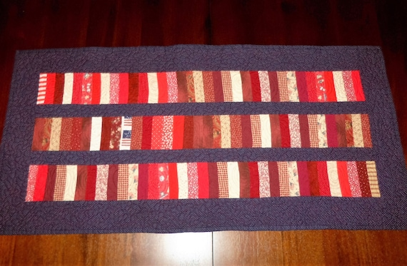 Quilted Table Runner, Americana Patriotic, Sale Priced, Table Decor, 19x32 inches, Table Topper, Roman Bars, Machine Quilted