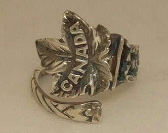 Sterling Silver Maple Leaf Spoon Ring