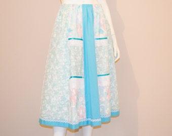 Vintage Skirt Aqua Shades Cotton and Lace