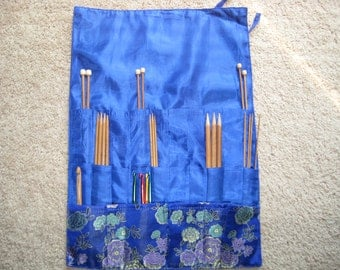 Gorgeous Silk Knitting needle Roll CASE organizer (three layers) Total 24 pockets