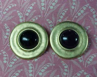 Vintage Signed Erwin Pearl Brushed Gold tone and Black Clip on Earrings