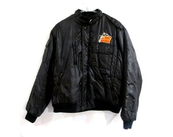 80s UPSTREAM Racing Division Black Puffer Jacket