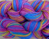 Pure wool yarn Iceland bulky weight,  pink, blue and yellow, 2 skeins