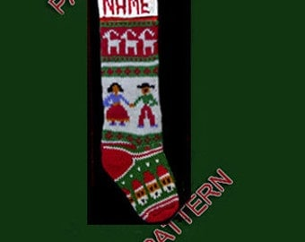 Hand knit Christmas stocking,  pattern only, Christmas Quake, snowman and deer