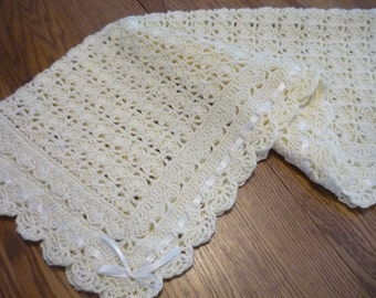 Crochet Baby Blanket Creamy Ivory Pale Yellow Christening Blanket Victorian Style Blanket Ivory Ribbon - Direct Checkout -  READY TO SHIP