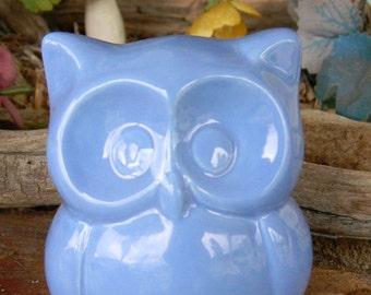 Ceramic Owl Miniature  - Glazed  pottery cute   Barn Owl   Light Blue   cm