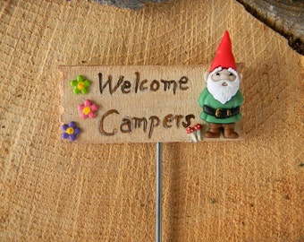 Gnome Garden sign  Terrarium sign Welcome Campers Mushrooms and daisy accents